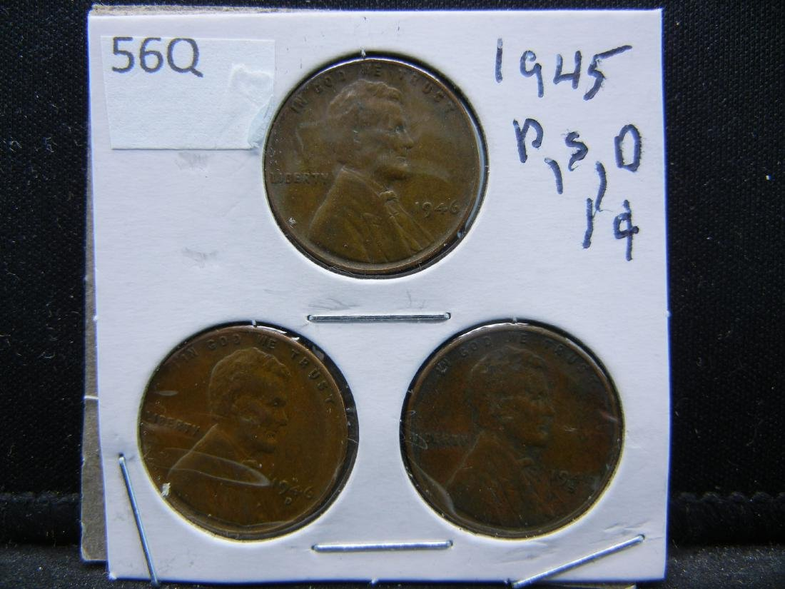 1945-P, D, S Lincoln Wheat Cents