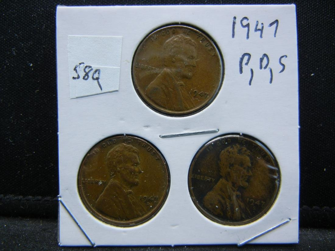 1947-P, D, S Lincoln Wheat Cents