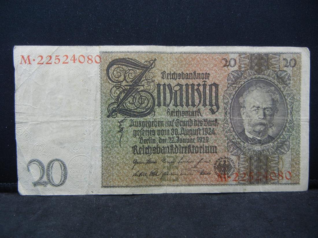 1924 Germany 20 Reichsmarks Bank Note.  Serial #