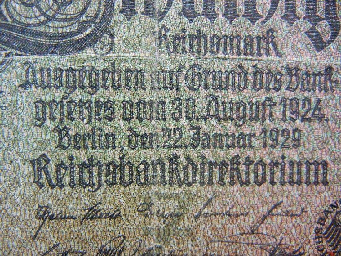 1924 Germany 20 Reichsmarks Bank Note.  Serial # - 2