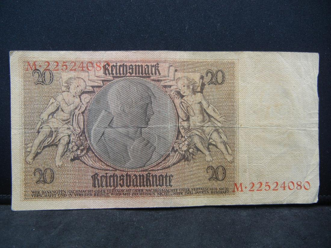 1924 Germany 20 Reichsmarks Bank Note.  Serial # - 3