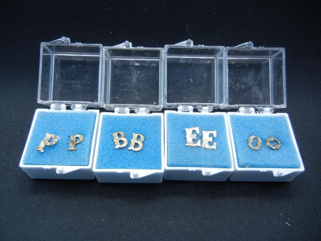 4 Sets of Letter Earrings B, E, O & P