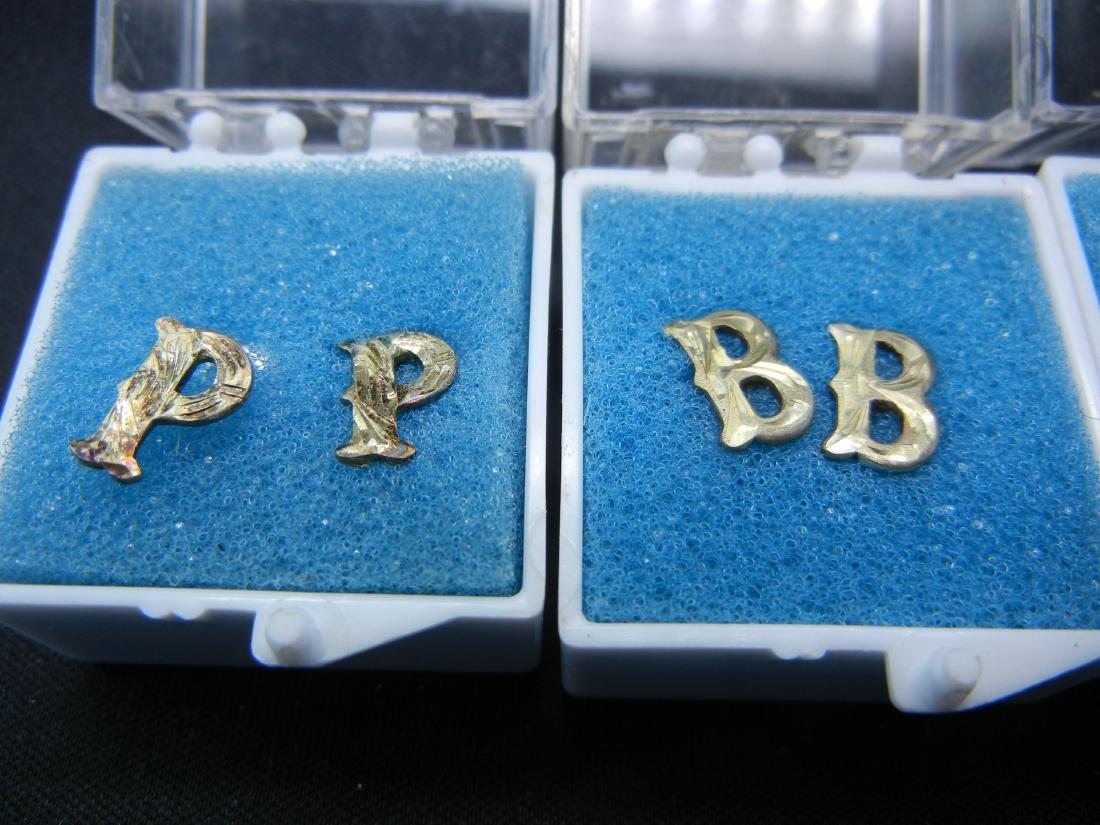 4 Sets of Letter Earrings B, E, O & P - 2