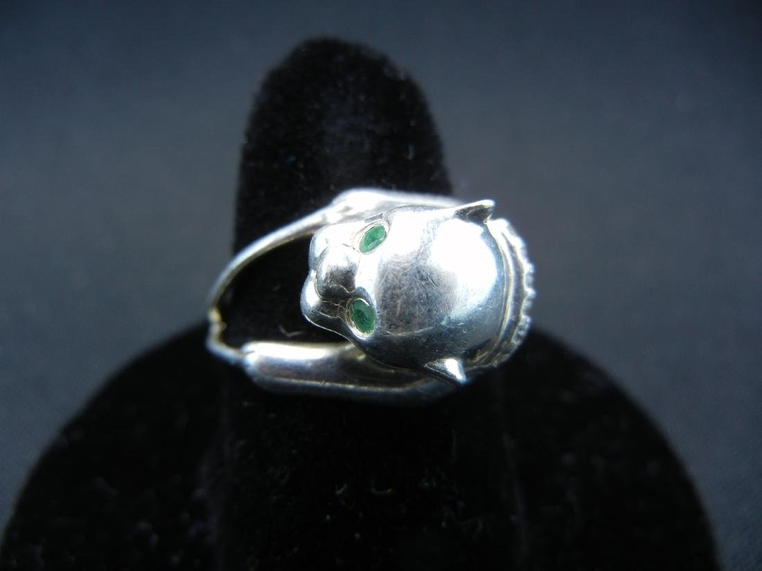 Sterling Silver Green Eyed Wildcat Ring.