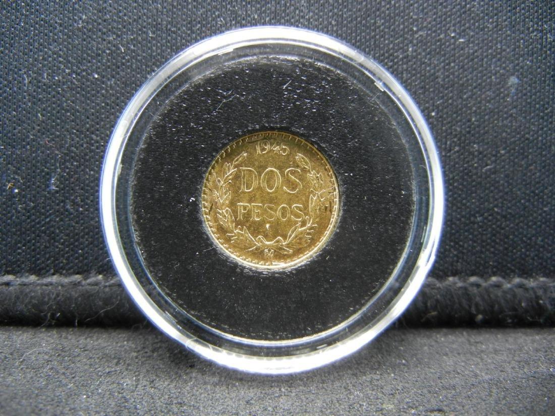 1945 Dos (2) Peso 90% Gold Coin from Mexico - 2
