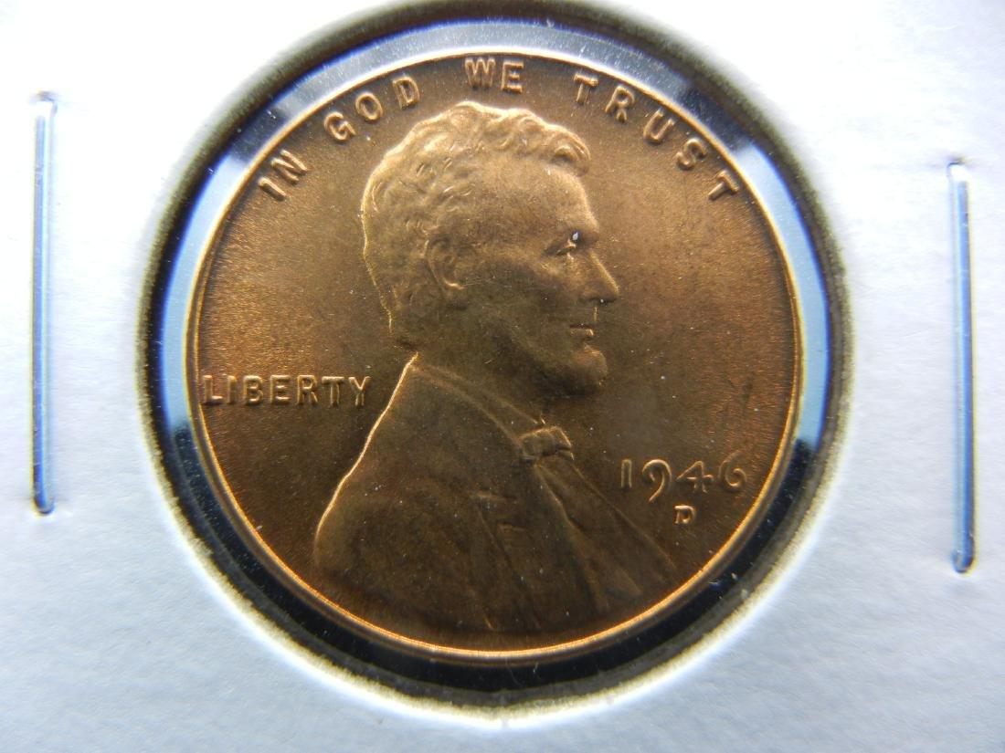 1946-D over D ERROR Wheat cent. Gem Red BU.