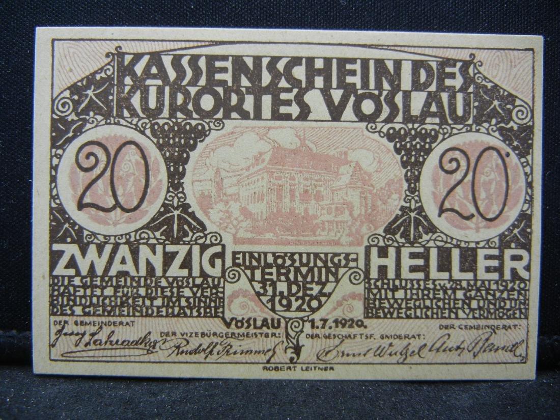 1920 Austria 20 Heller Bank Note, City of Voslau.