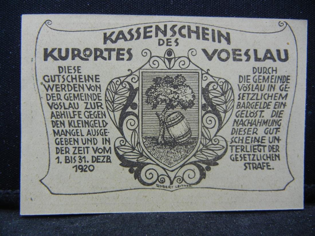 1920 Austria 20 Heller Bank Note, City of Voslau. - 2