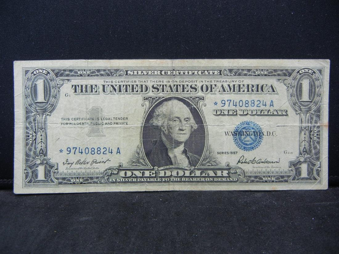 1957 $1 Star Note Blue Seal Silver Certificate.  Serial