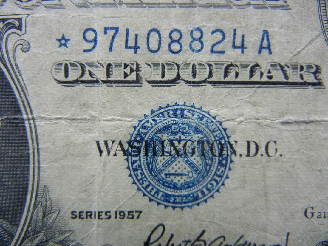 1957 $1 Star Note Blue Seal Silver Certificate.  Serial - 2