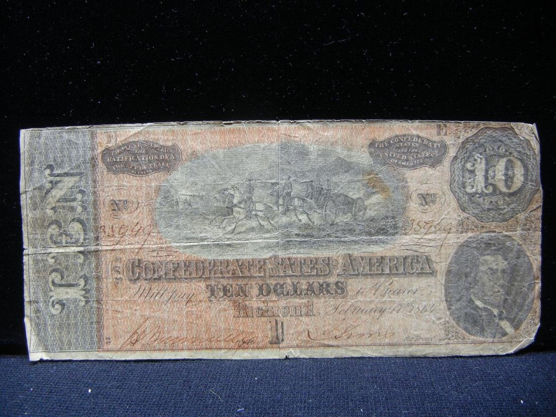 1864 Confederate States Rough Riders $10. Hand signed. - 3