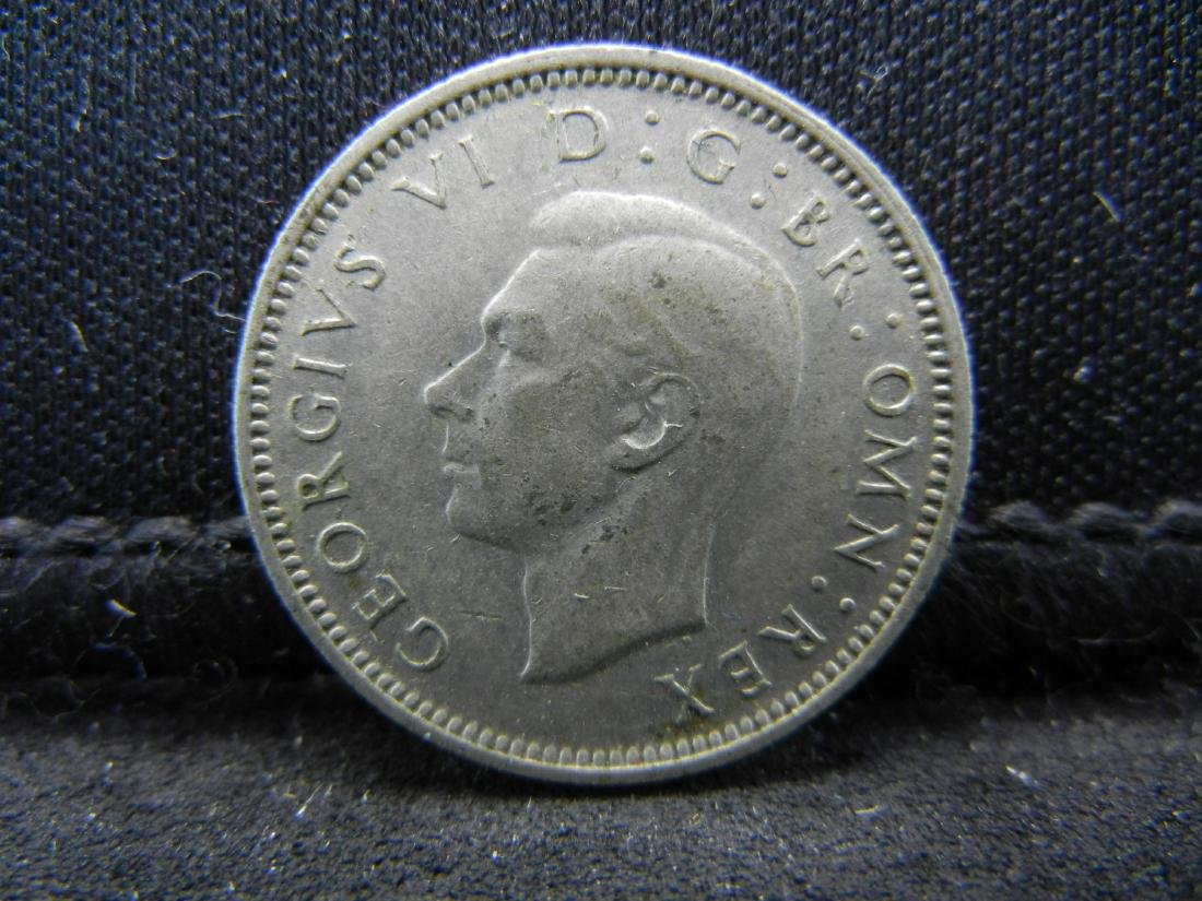 1943 Great Britain 6 Pence 50% Silver Coin.  Weighs - 2