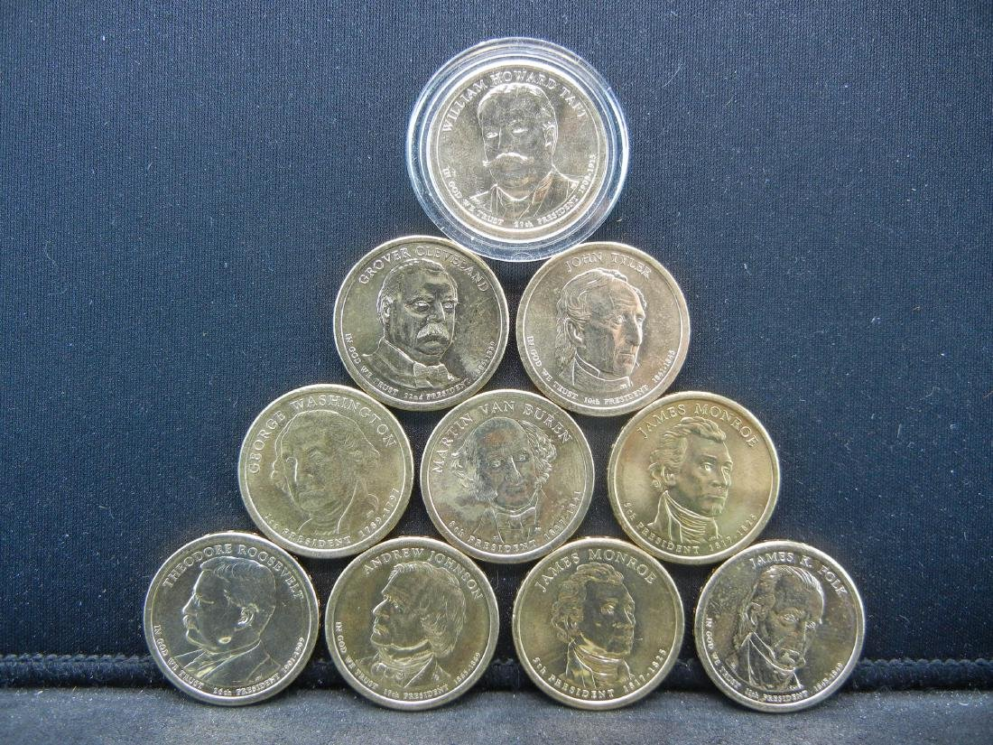 Lot of 10 Mixed date nice grade Presidential Dollars. - 2
