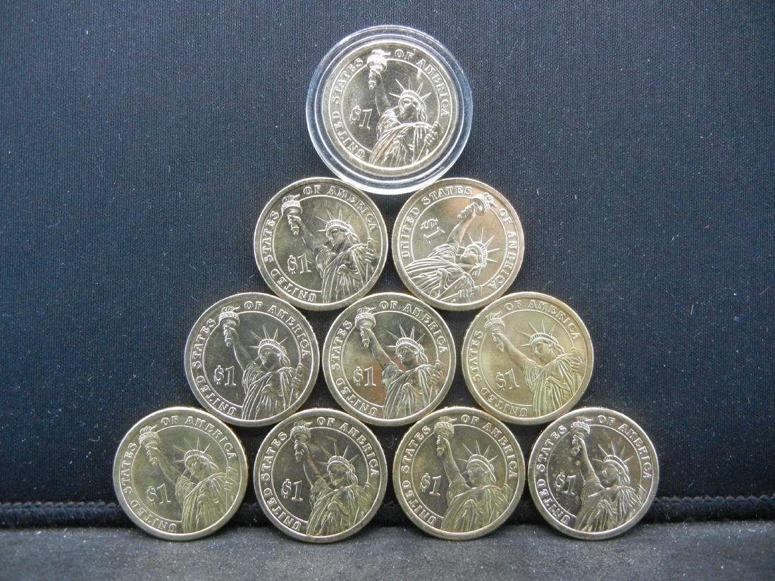 Lot of 10 Mixed date nice grade Presidential Dollars. - 3