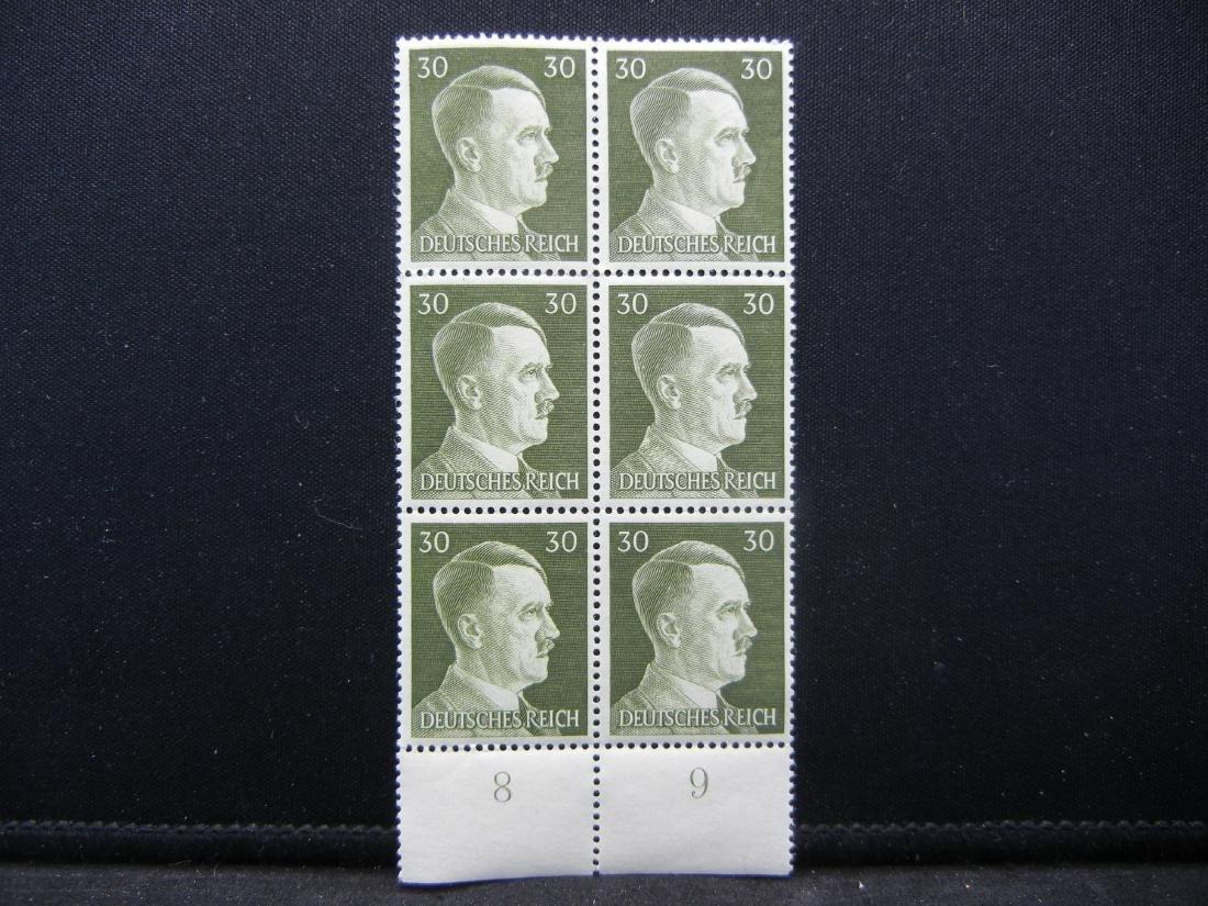WWII Germany 30 Rpf stamp block. Unused Crisp UNC.