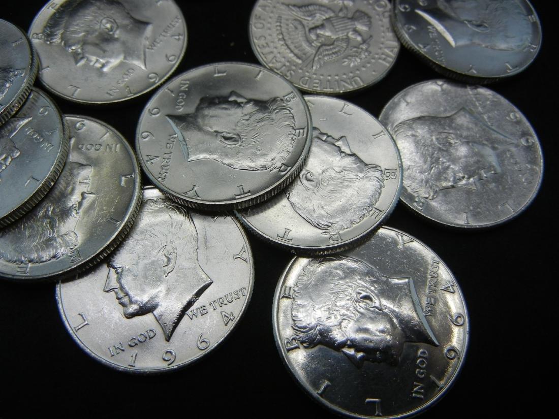 Roll of 20 90% Silver 1964 Kennedy Half Dollars. - 3