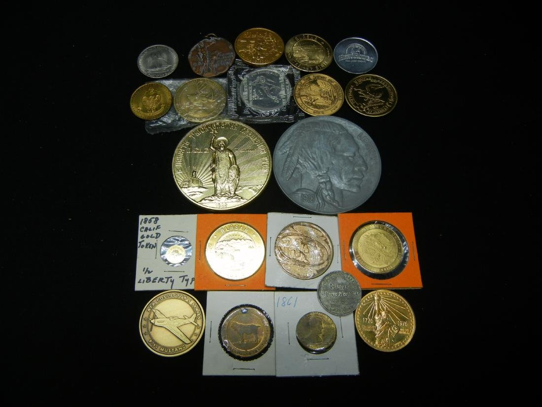 Group of 20 Crown Sized Medals and Tokens.