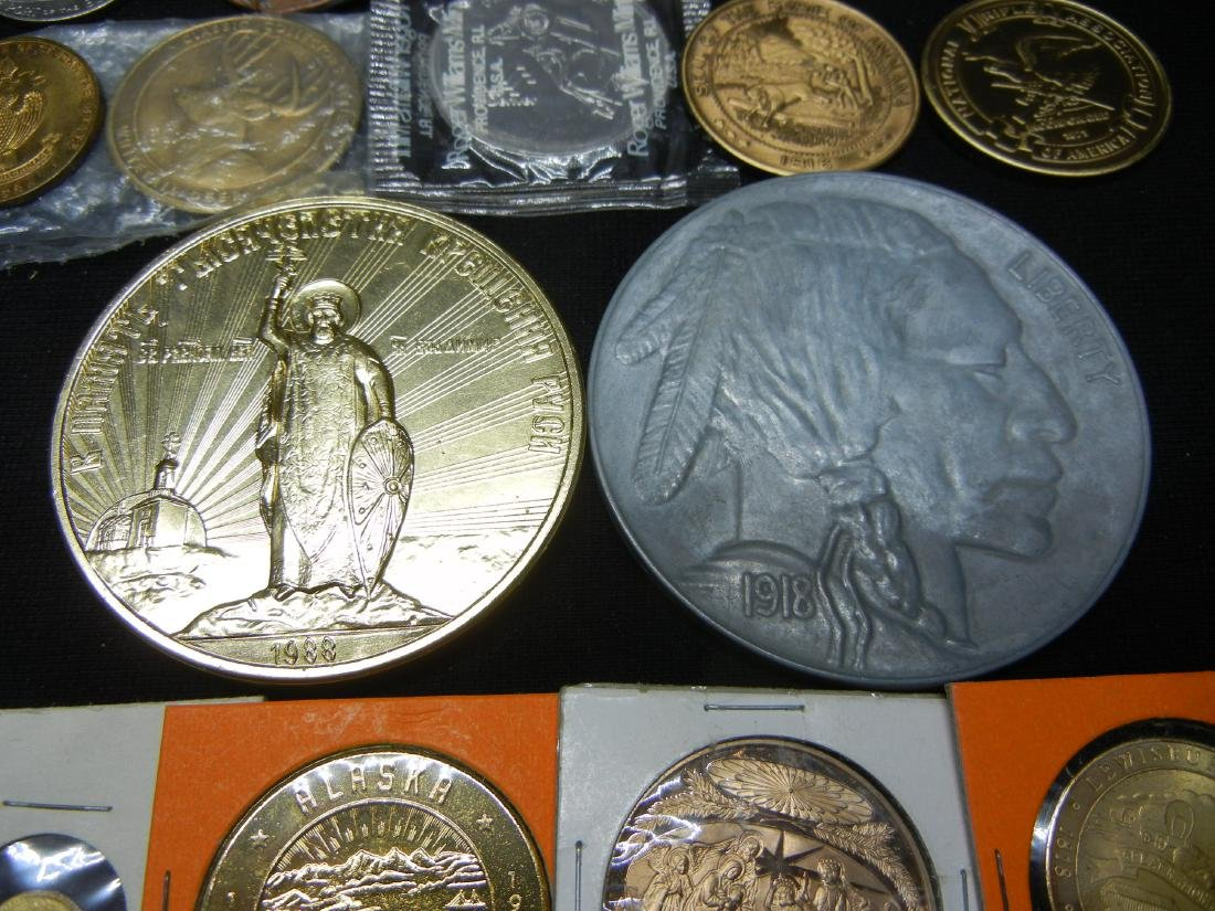 Group of 20 Crown Sized Medals and Tokens. - 4