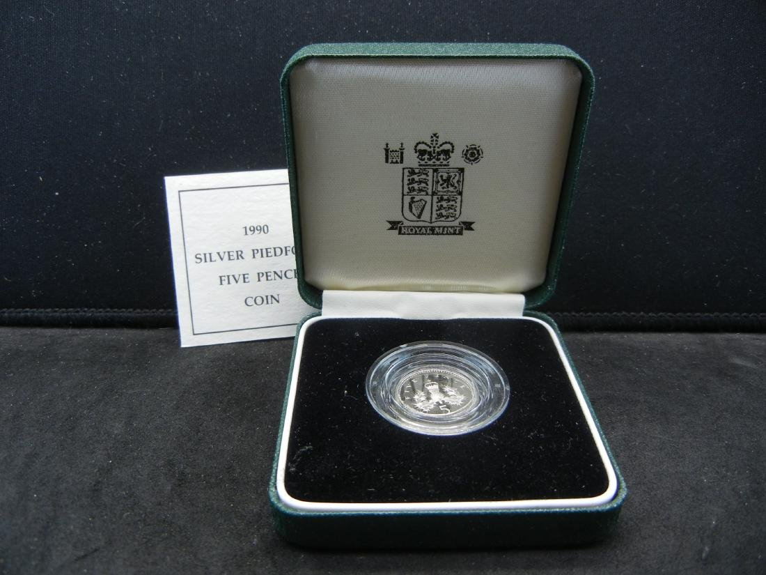 1990 Great Britain SILVER Piedfort 5 pence Proof. Royal