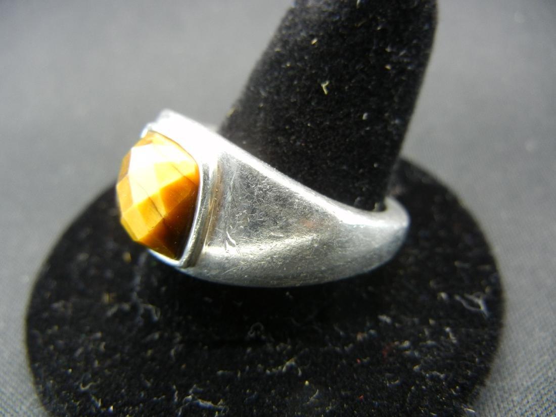Sterling Silver Tigers Eye Men's Ring. - 3