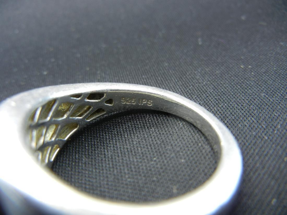 Sterling Silver Tigers Eye Men's Ring. - 4