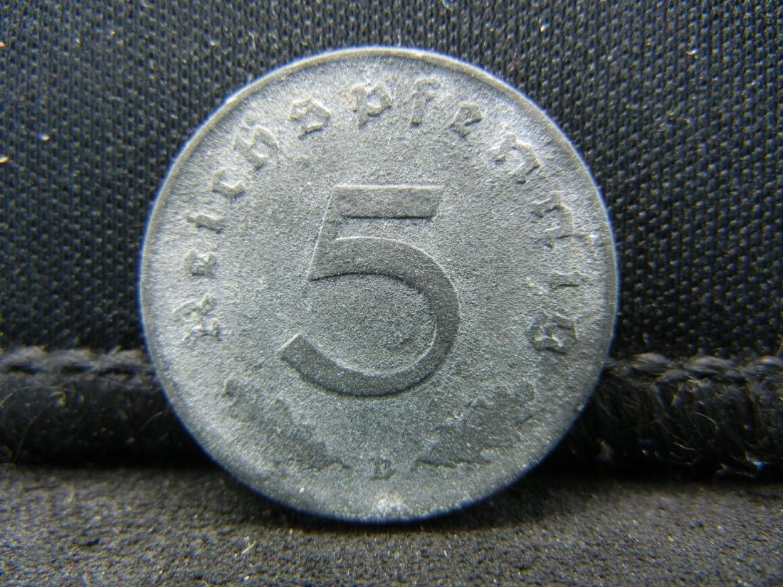 """1944-D German Deutsch Reich 5 Pfennig """"Swastica"""" Coin."""