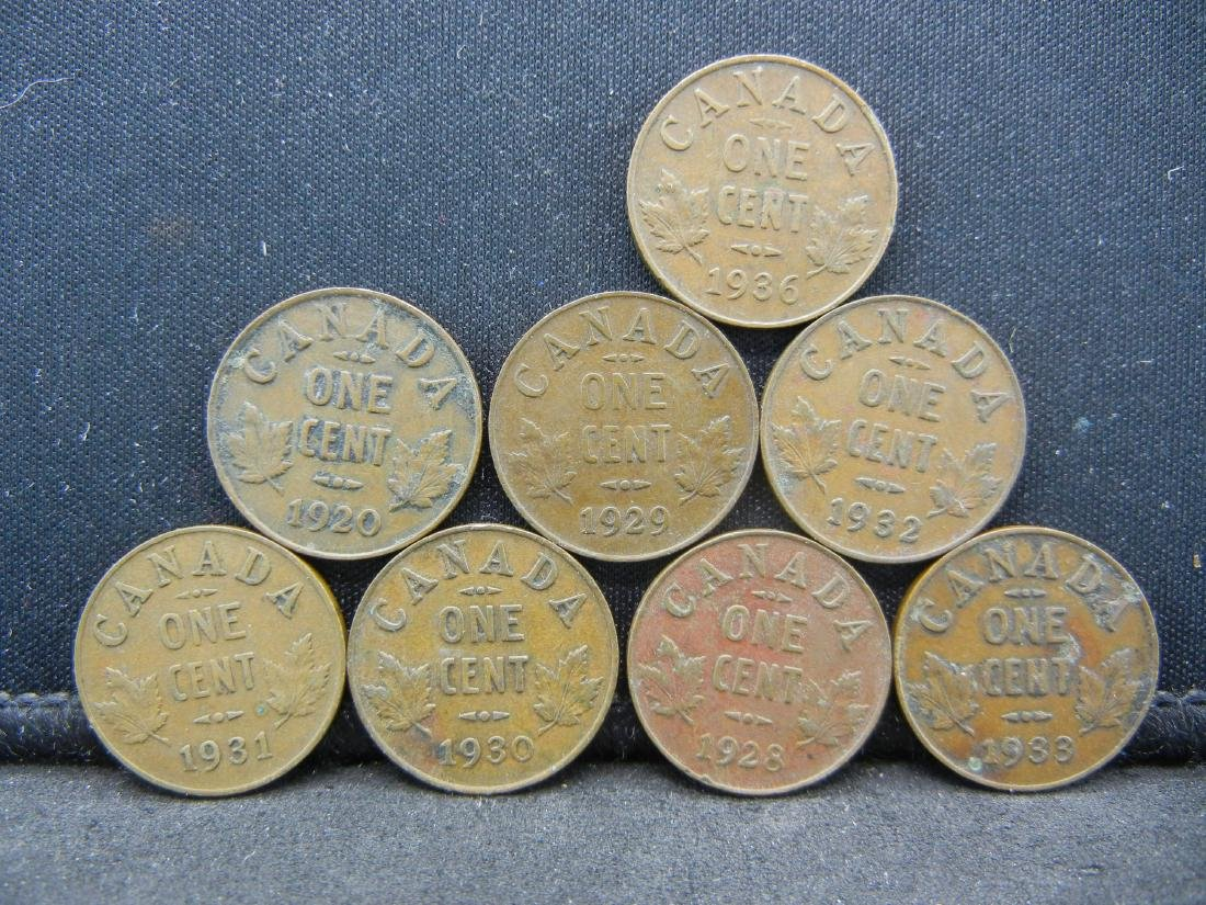 8 George V Canadian Cents.  1920 1928 1929 1930 31 32