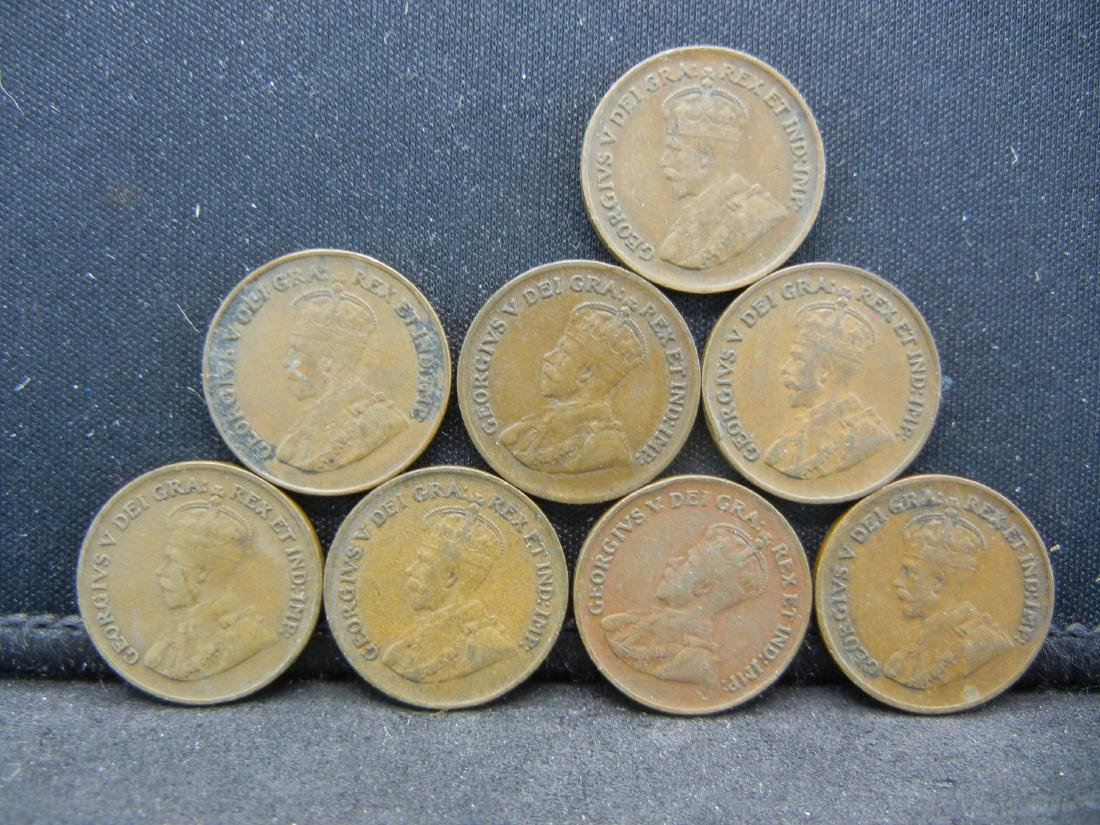 8 George V Canadian Cents.  1920 1928 1929 1930 31 32 - 2