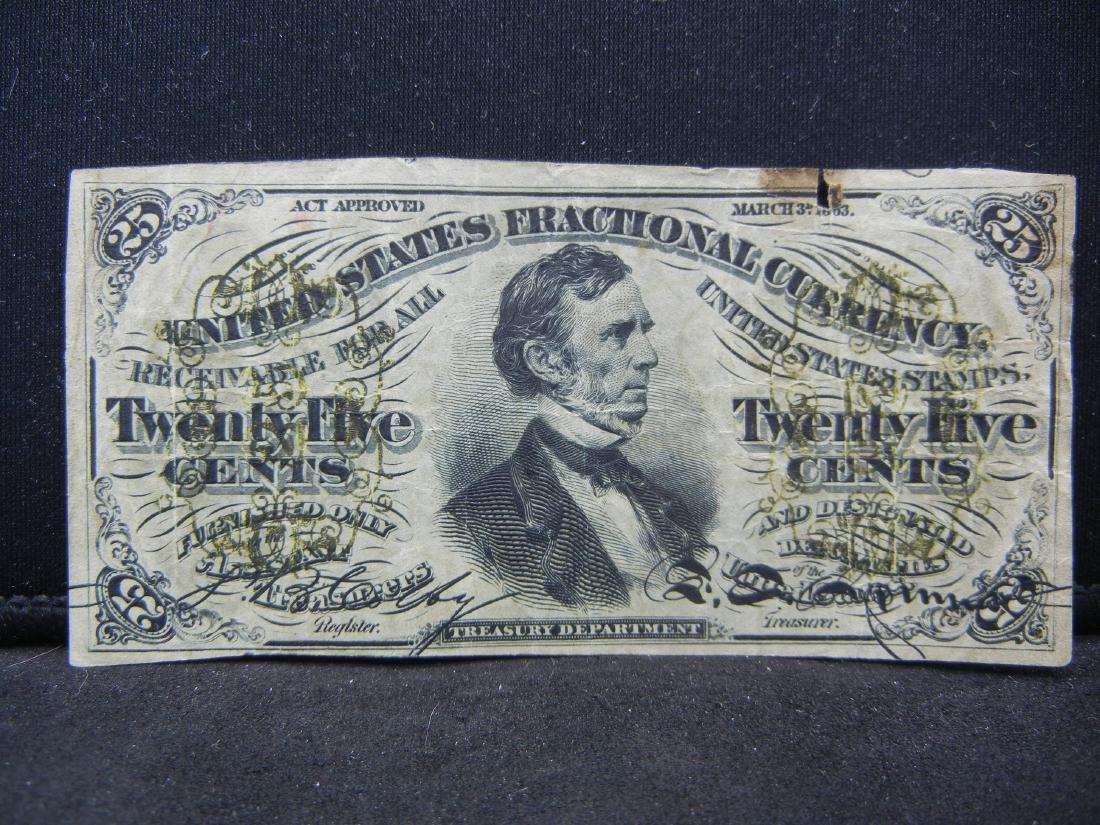 1863 CIVIL WAR 25 cents US fractional Note. RARER than