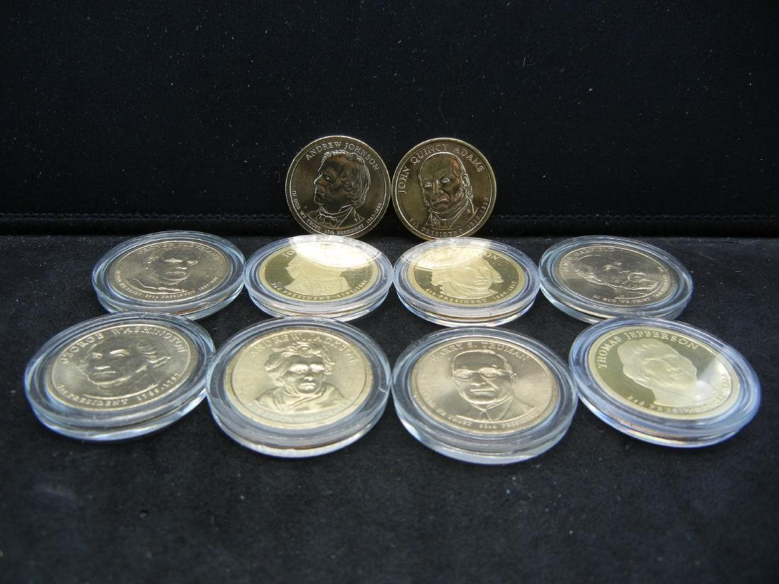 Lot of 10 Mixed date nice grade Presidential Dollars.