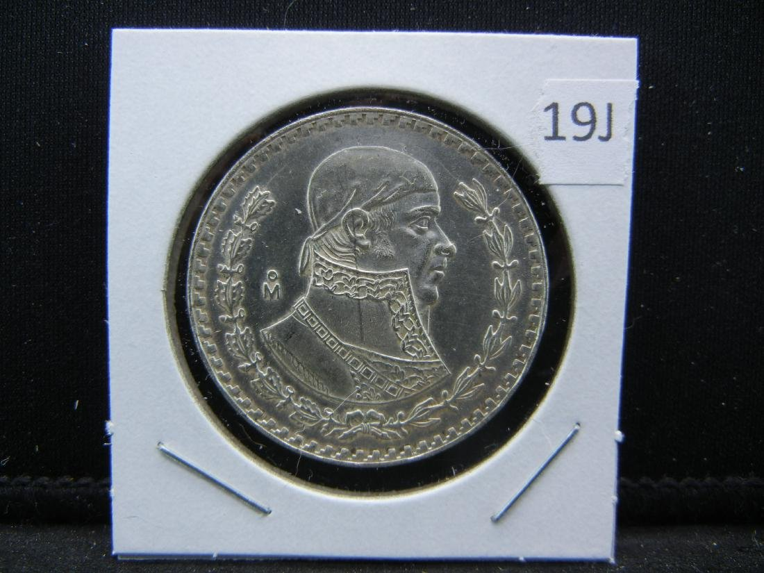 1967 Mexico SILVER PESO. Prooflike qulaity and detail. - 3