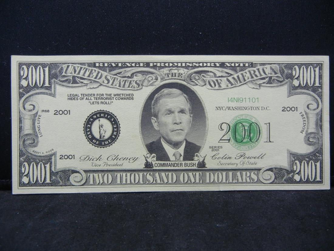 2001 Dollars Patriotic Novelty Note.  George Bush