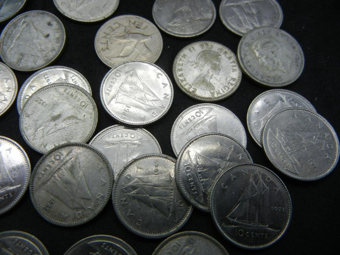 Lot of 1970's Canadian Dimes - 2