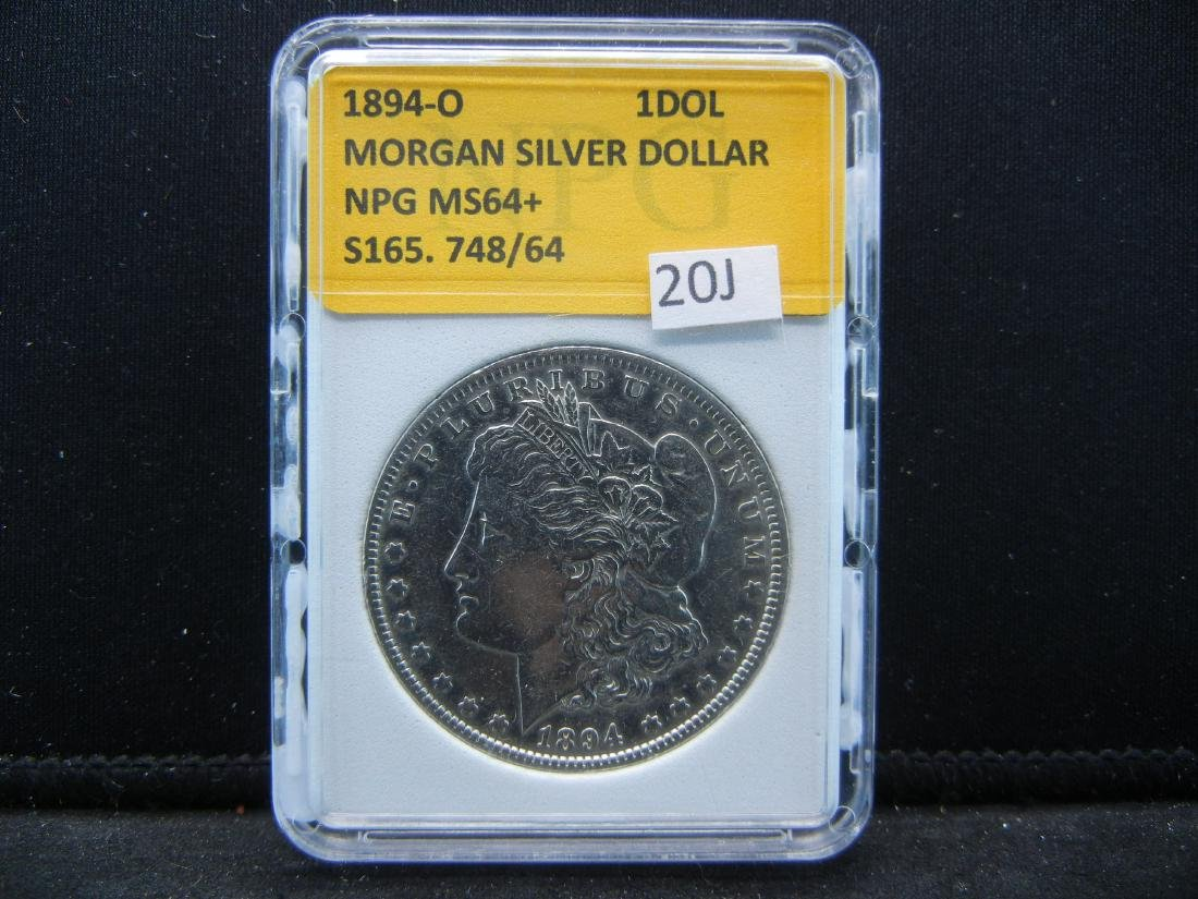 1894-O MORGAN SILVER DOLLAR, NPG MS64+. KEY DATE.