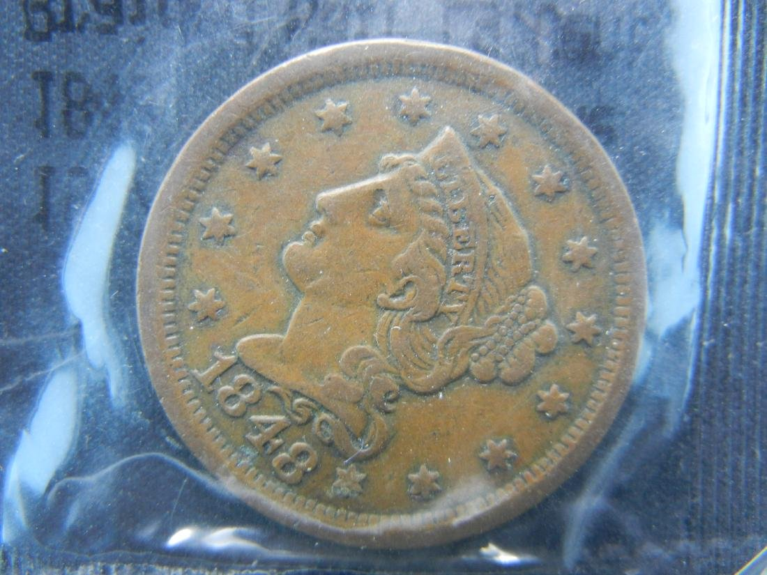 1848 Braided Hair Large Cent, Graded Very Fine by