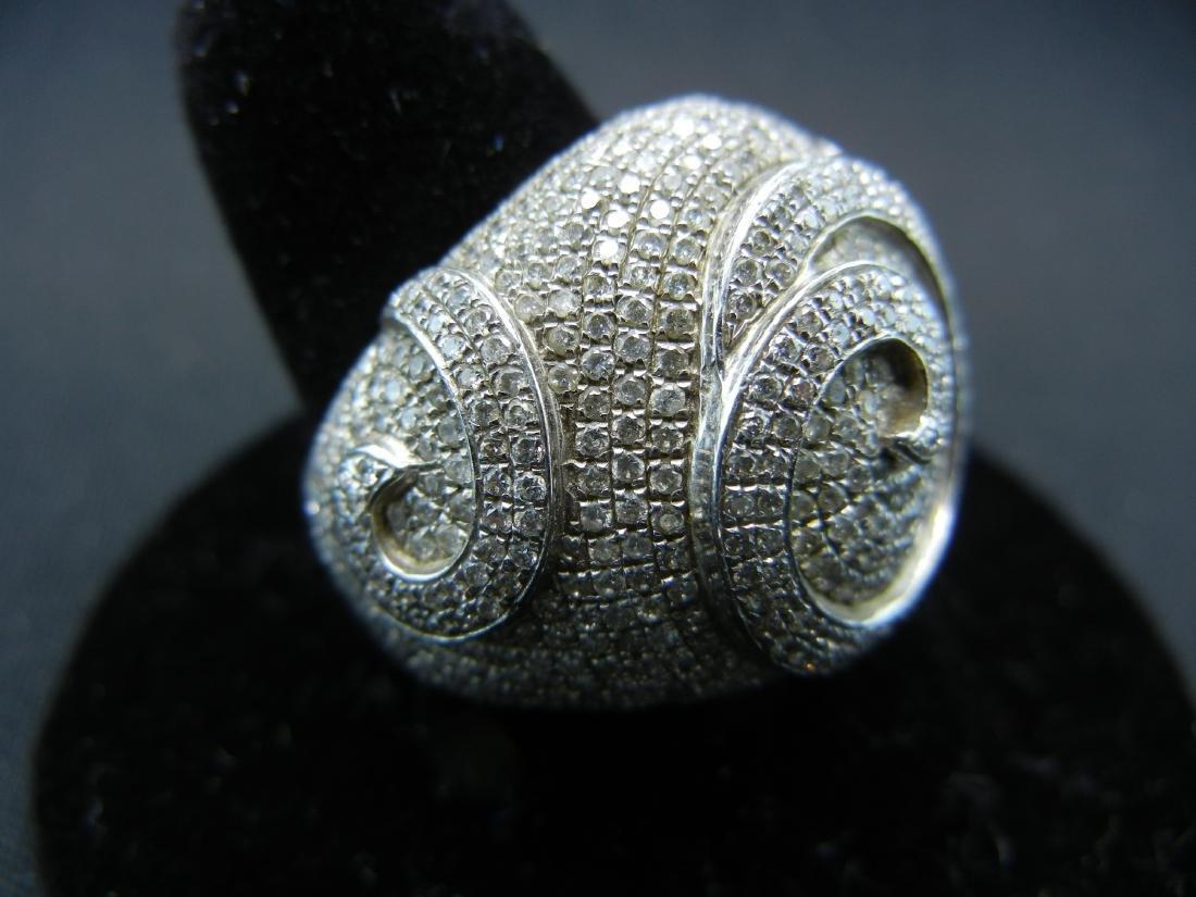 Vintage DIAMOND encrusted 925 silver ring. Serious - 2