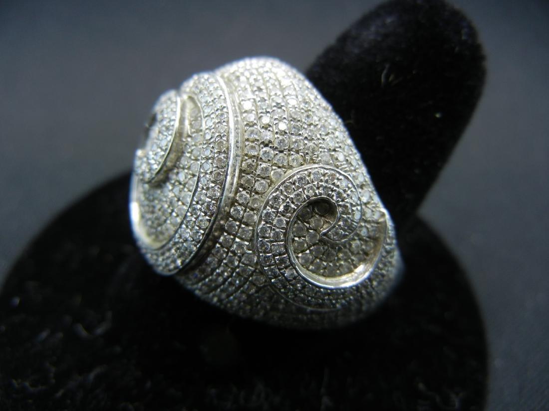 Vintage DIAMOND encrusted 925 silver ring. Serious - 3