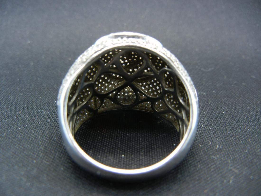 Vintage DIAMOND encrusted 925 silver ring. Serious - 5