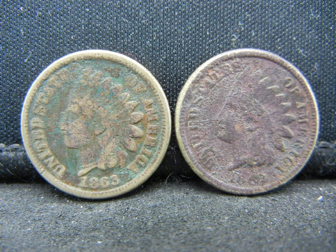 1862 1863 Indian Head Cents.