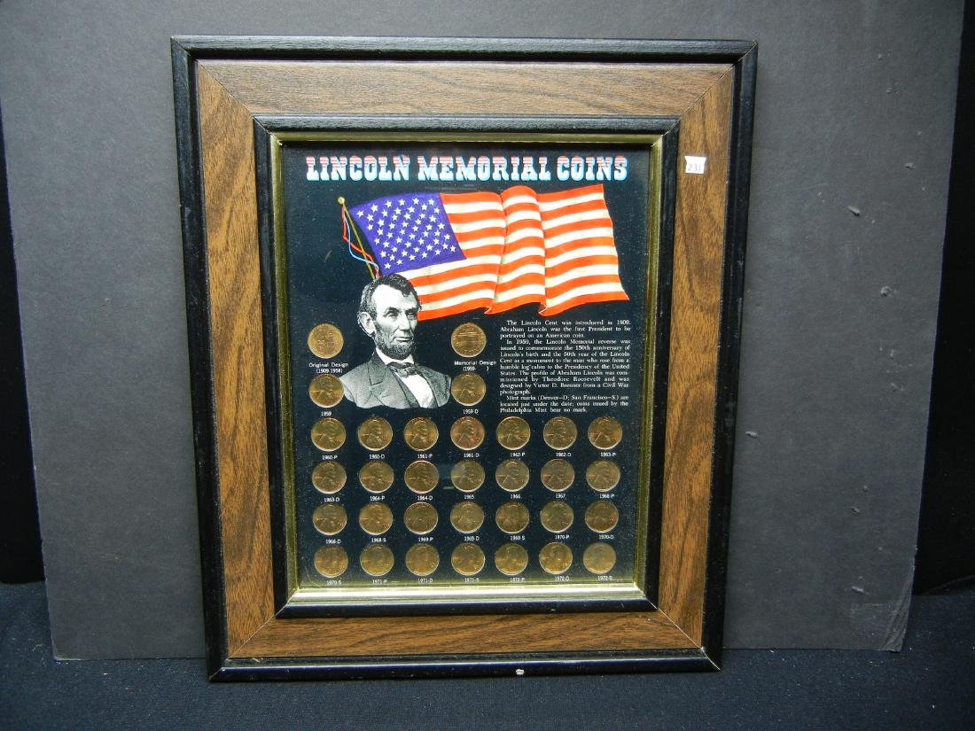 1958-1972 Wheat/Mem BU RED cent collection wallhanger.