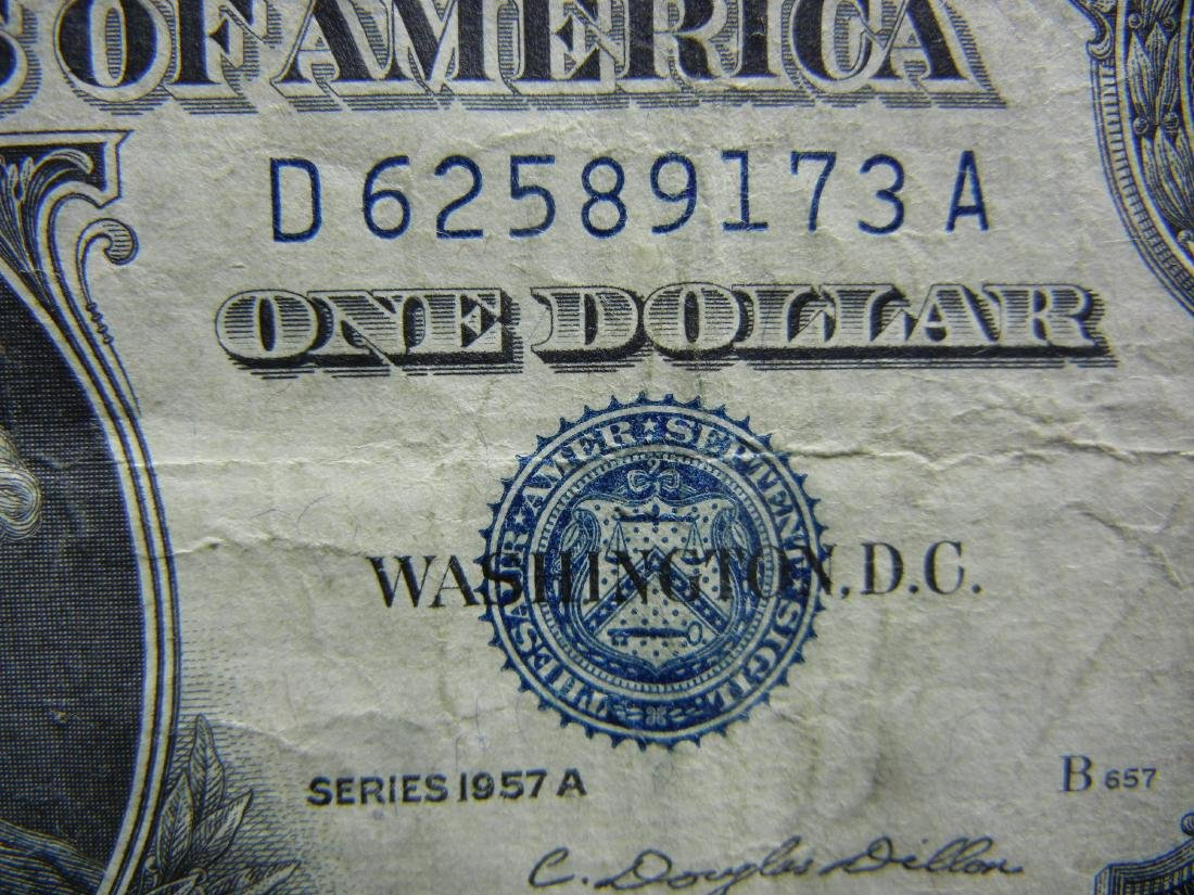 5-1957 $1 Blue Seal Silver Certificates. - 6