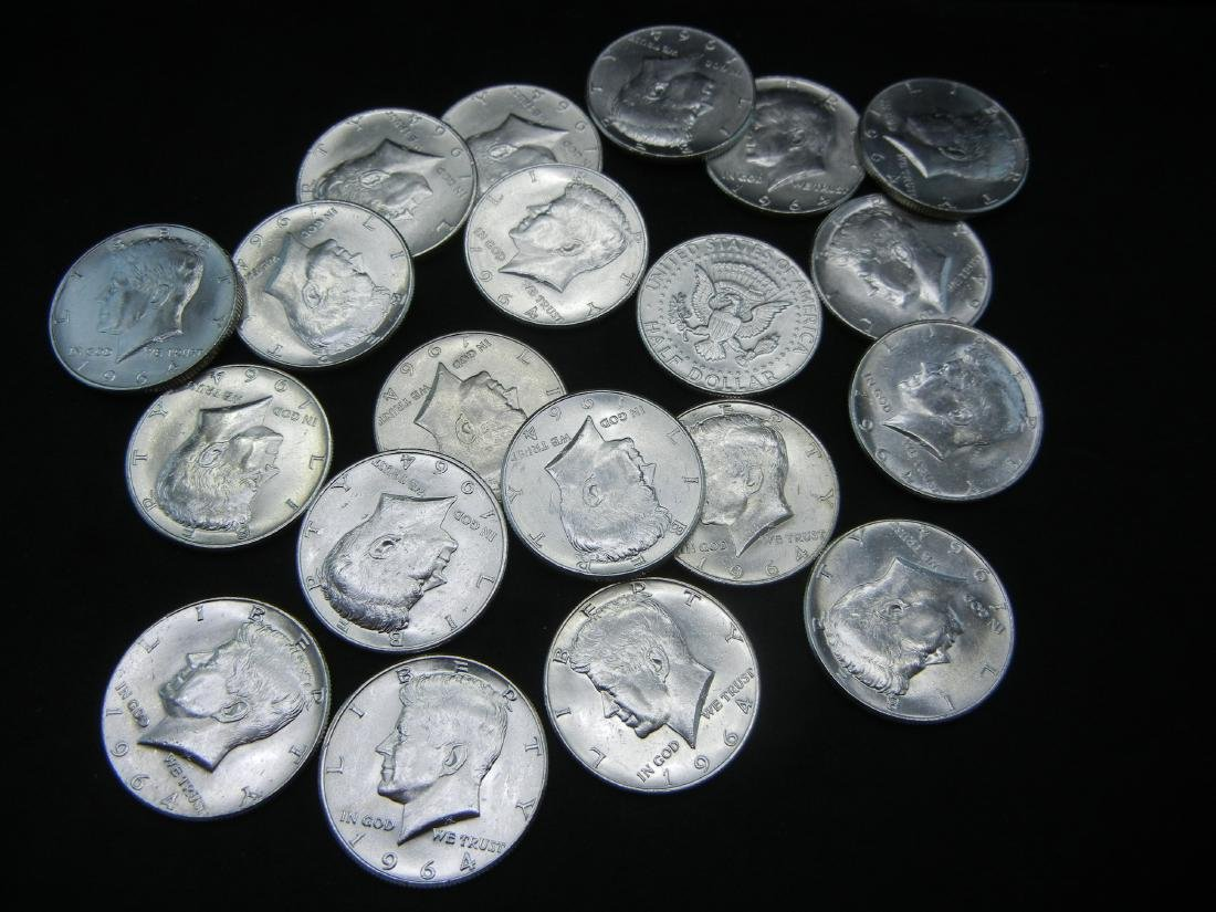 Roll of 20 90% Silver 1964 Kennedy Half Dollars.