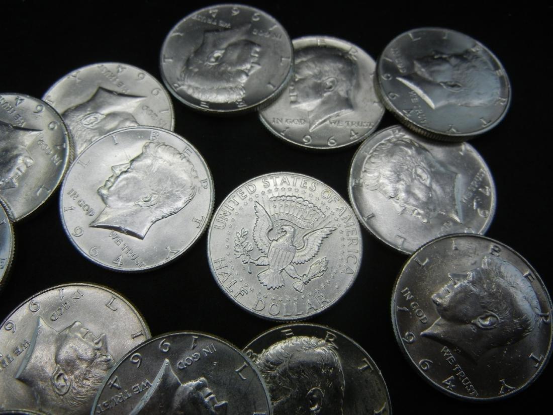 Roll of 20 90% Silver 1964 Kennedy Half Dollars. - 2