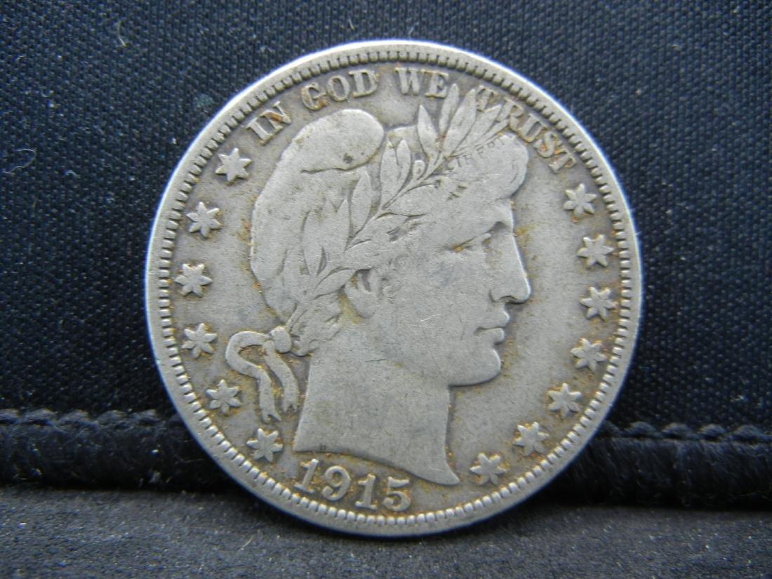 1915-D Barber Half Dollar, Readible Liberty, Fine or