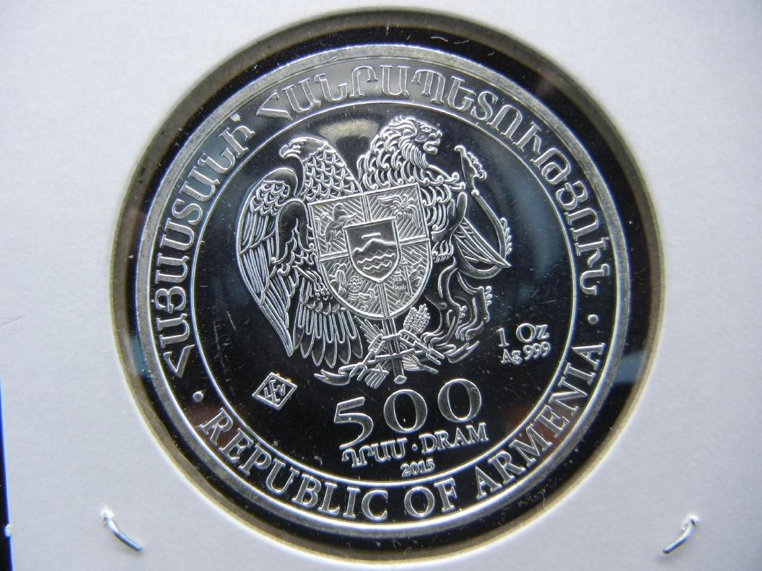 2015 Armenia 500 Dram 1 ounce 999 Silver. NOAHs ARK - 2