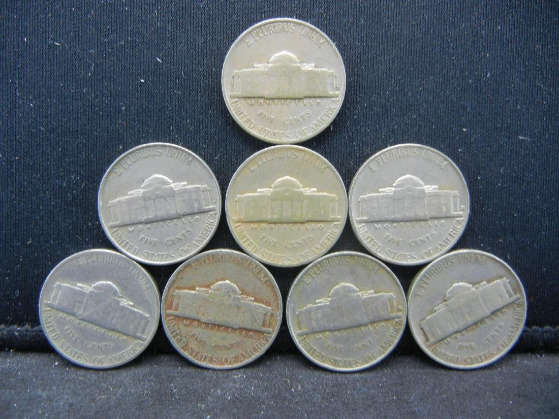 Lot of 8 1940's Jefferson Nickels. NO SILVER - 2