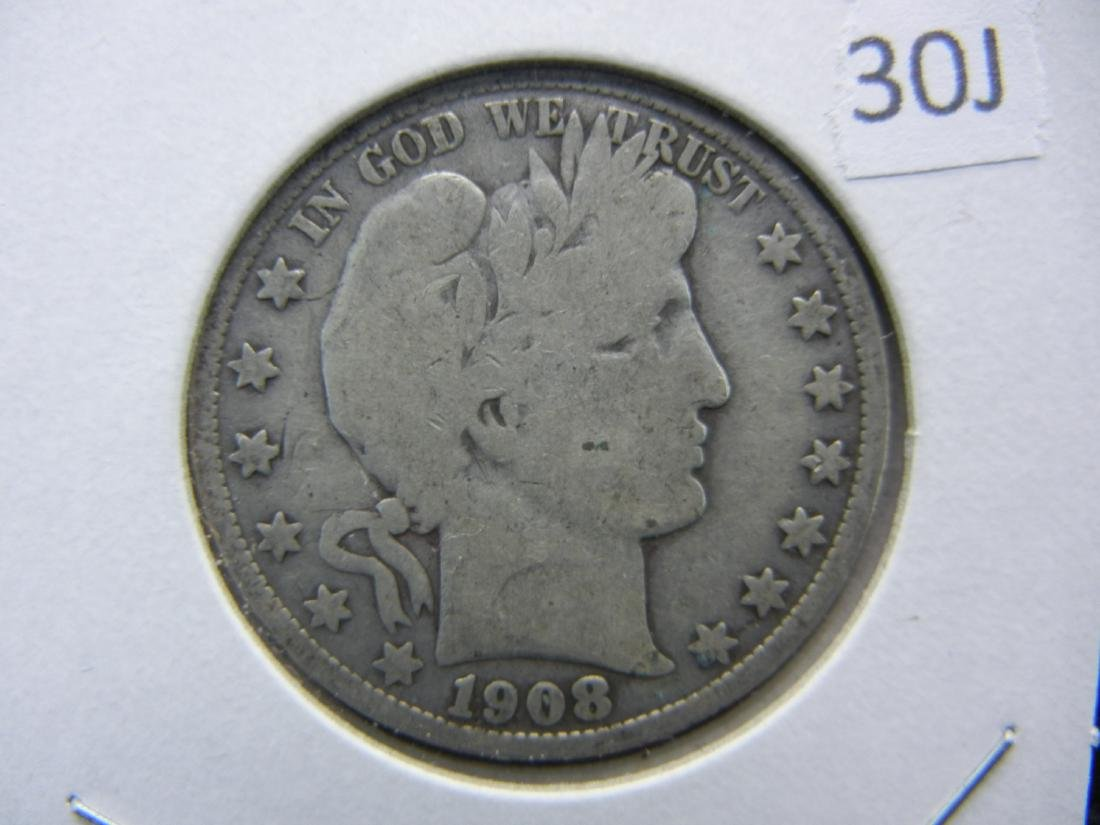 1908-O Barber 1/2 Dollar. VG. Some LIBERTY.