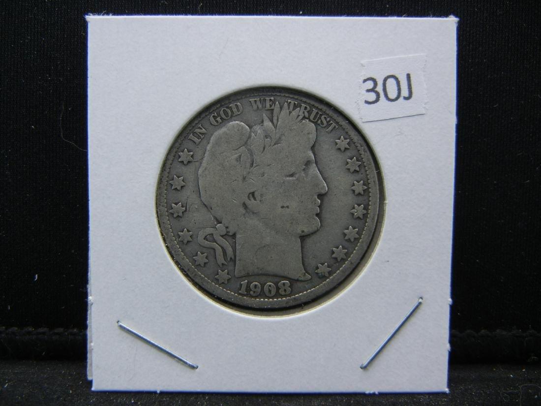 1908-O Barber 1/2 Dollar. VG. Some LIBERTY. - 3