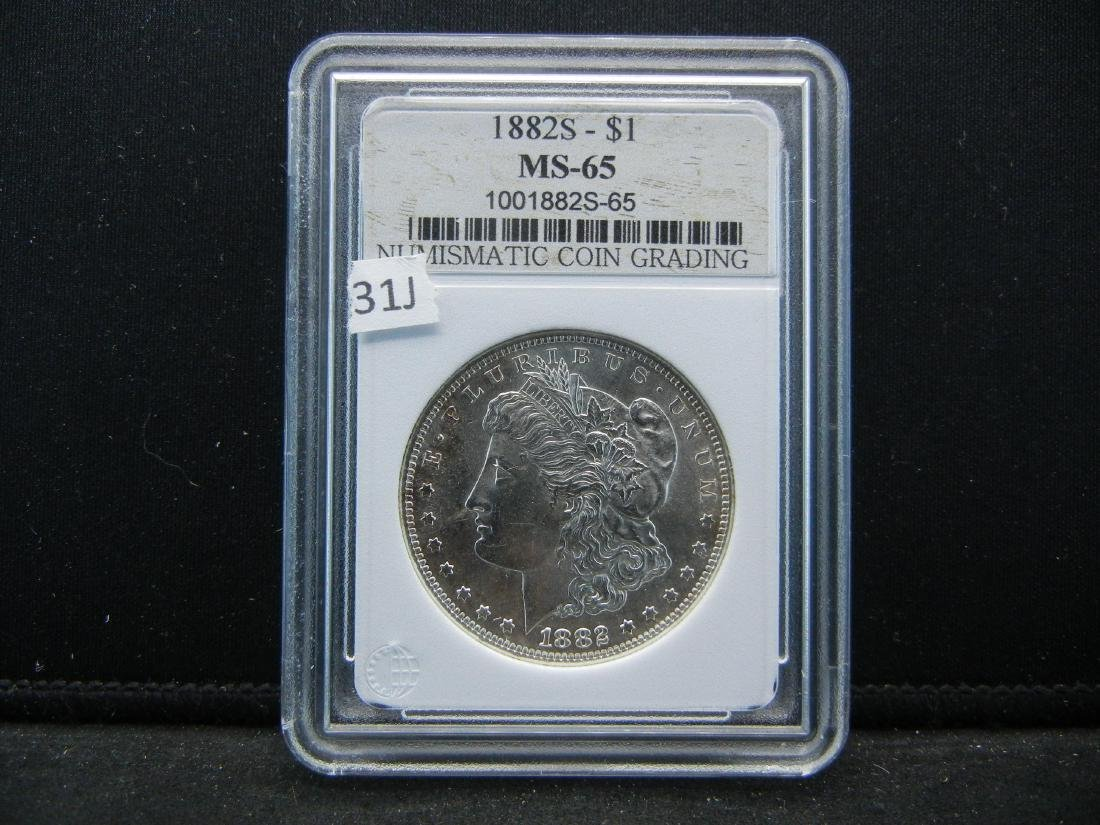 1882-S Morgan Dollar. Graded MS-65 by Numismatic Coin