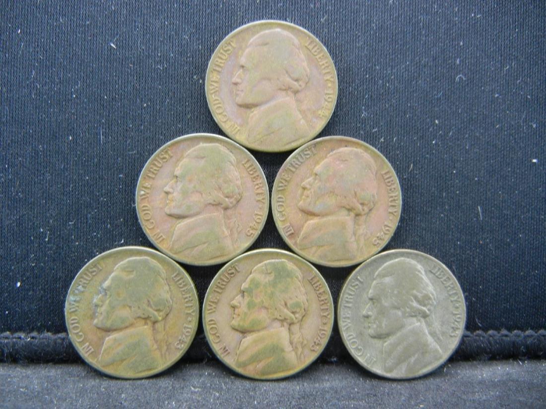 Lot of 6 35% Silver Jefferson Nickels.